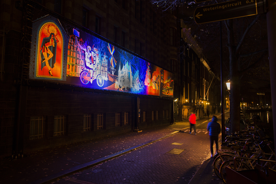 A Window in Time by Motion Paintings is a moving painting of light, here at Amsterdam Light Festival