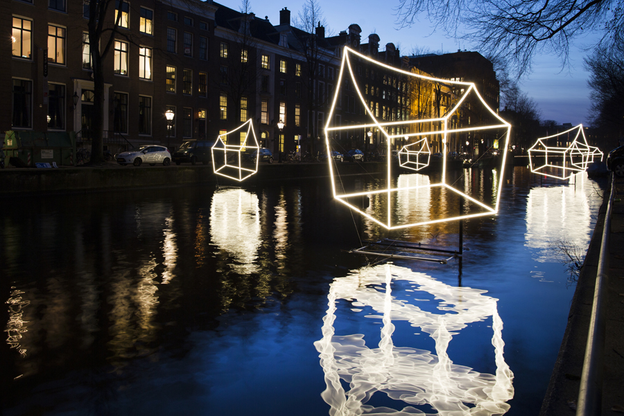 Light art installation `Welcome to my home(town)` by Lighting Design Academy tricks the eye in a surprising way at Amsterdam Light Festival