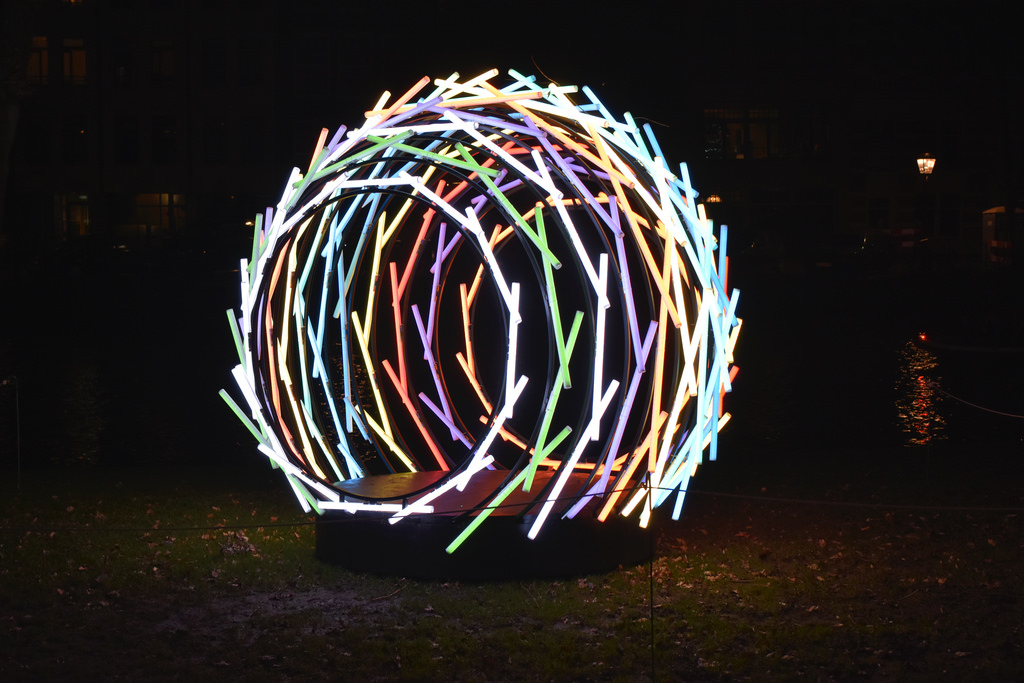NEST, the light art object by Patil and Gujar at Amsterdam Light Festival