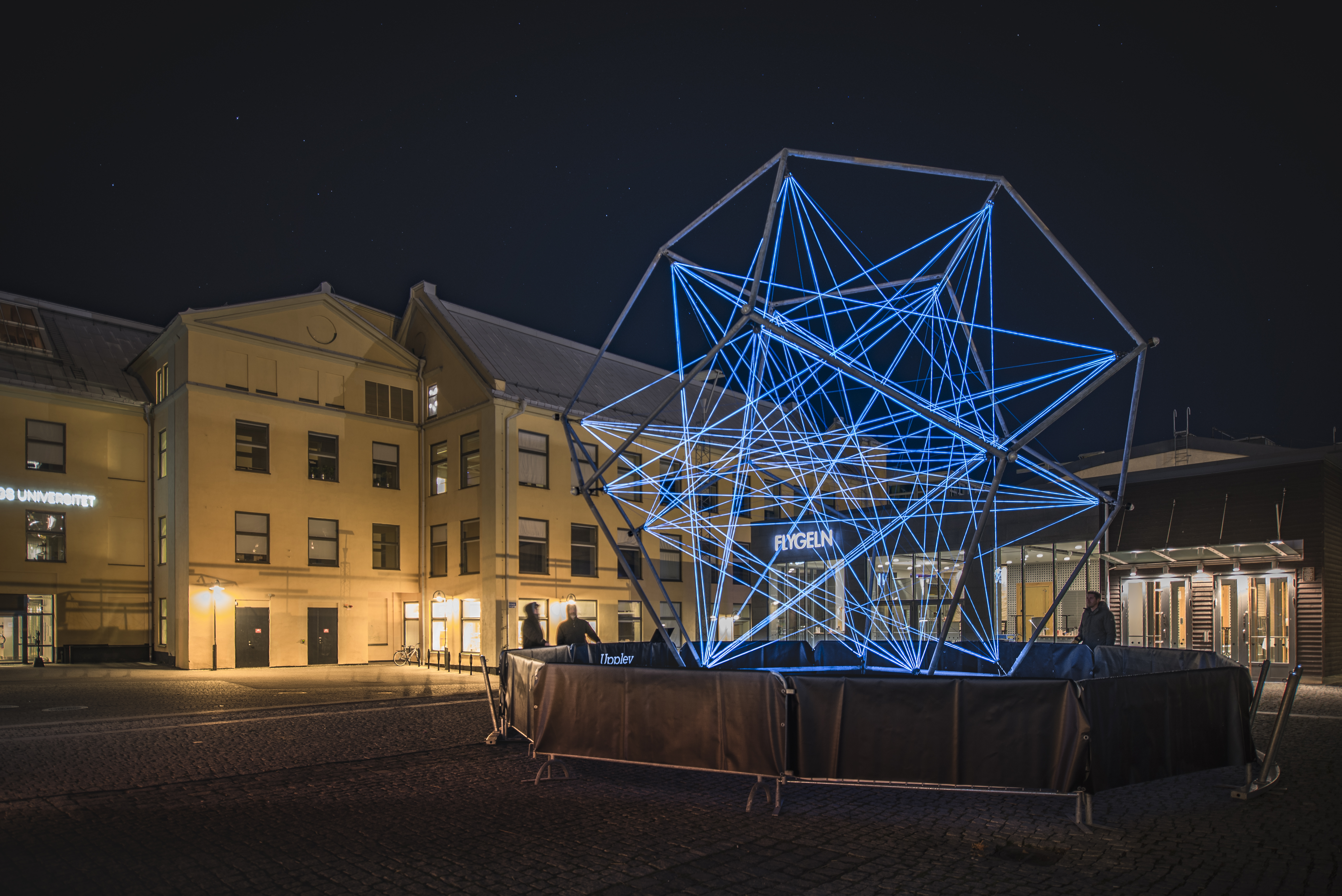 The Uniting Lightstar by VENIVIDIMULTIPLEX installation at Amsterdam Light Festival
