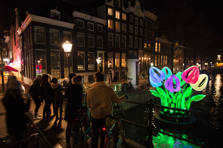 Inflatable installation `Bunch of Tulips` by Peter Koros, in Canal during Amsterdam Light Festival