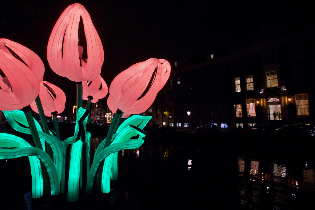 Inflatable light art installation `Bunch of Tulips` by Peter Koros, in Amsterdam Canal
