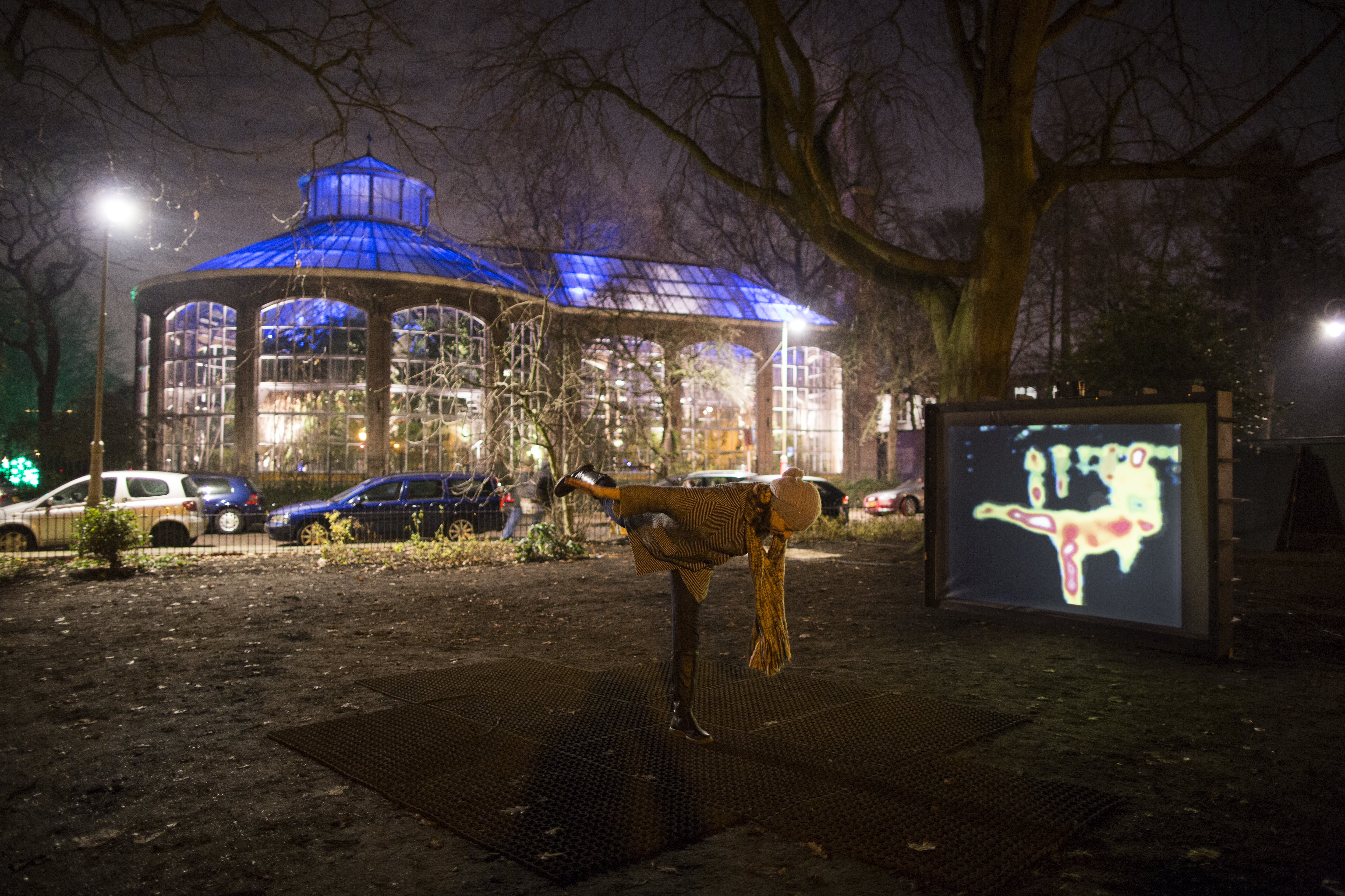 The Enthalpy artwork by John Bell captures visitors in visualized heat signatures at Amsterdam Light Festival