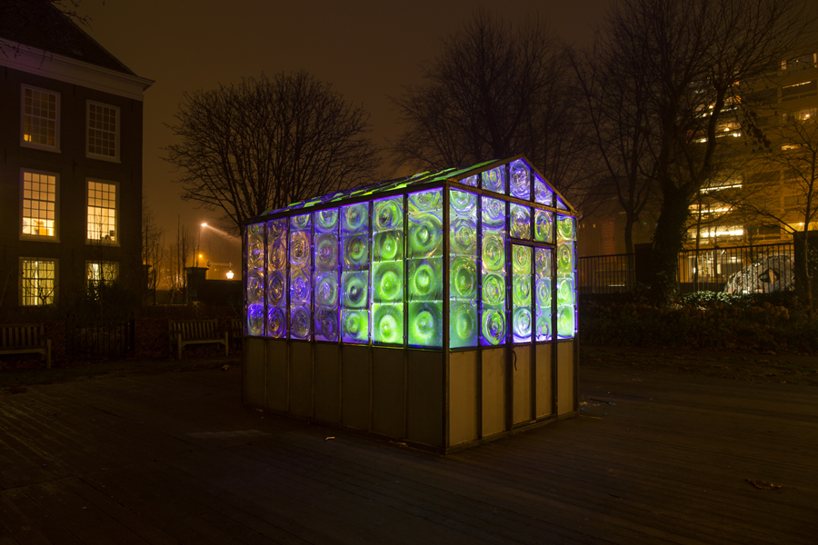 The Greenhouse light art installation by Victor Engbers lights up in UV lighting